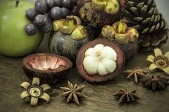 Autumn fresh fruit on wood still life Stock Photo