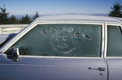 Autumn frost on a car window on Skyline Drive Route 7A, Summit of Mt. Equinox in Vermont Royalty Free Stock Photo