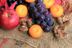 Autumn fruit, autumn of image. It is autumn fruits, apples, grapes, oranges Royalty Free Stock Image