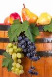 Autumn fruit on barrel Stock Photo