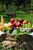Autumn fruit basket stock photo