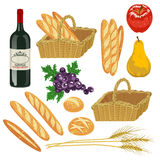 Autumn fruit and Bread,Isolated Stock Photo
