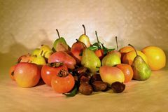 Autumn fruit, still life. Composition with fresh fruit of various kind, closeup Stock Photo