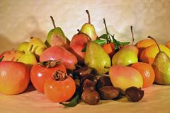 Autumn fruit, still life. Composition with fresh fruit of various kind, closeup Royalty Free Stock Photos