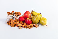 Autumn fruit still life Dried apples pears isolated on white bac Stock Image