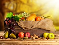 Autumn fruit and vegetable in wooden box Stock Photos