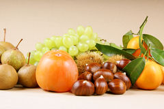Autumn fruits. Assortment of autumn fruits over a light brown background Stock Images