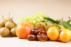 Autumn fruits. Assortment of autumn fruits over a light brown background Stock Photography