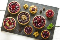 Autumn fruits cakes Stock Image