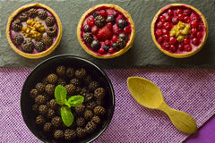 Autumn fruits cakes Royalty Free Stock Images