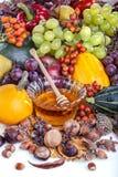 Autumn fruits and honey Royalty Free Stock Image