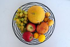 Autumn fruits on the plate looked very appetizing. stock image