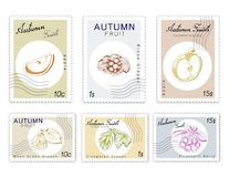 Post Stamps Set of Autumn Fruits with Paper Cut Art. Autumn Fruits, Post Stamps Set of Hand Drawn Sketch Elongated or Witch Fingers Grapes with Moon Drops, Pione Vector Illustration