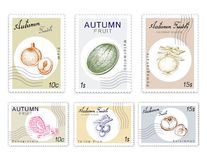 Post Stamps Set of Autumn Fruits with Paper Cut Art. Autumn Fruits, Post Stamps Set of Hand Drawn Sketch Watermelon, Pomegranate, Kaki or Persimmon, Plum and Royalty Free Illustration