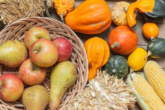 Autumn fruits. Pumpkins, apples, pears, tomatos and straw on a wooden plate Royalty Free Stock Photography