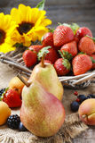 Autumn fruits and sunflowers Royalty Free Stock Photos