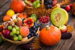 Autumn fruits. On the table royalty free stock images