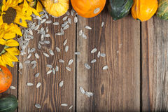Autumn fruits on table. Different kinds of autumn fruits on a wooden table Stock Photo