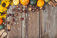 Autumn fruits on table. Different kinds of autumn fruits on a wooden table Royalty Free Stock Image