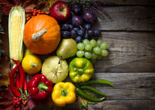 Autumn fruits and vegetables abstract still life. Concept Stock Photo