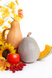 Autumn fruits and vegetables in basket with leaves Royalty Free Stock Image