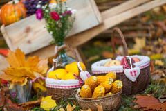 Autumn fruits and vegetables. In baskets Stock Photo