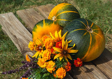 Autumn fruits,vegetables and flowers Royalty Free Stock Photo