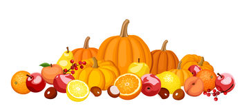 Autumn fruits and vegetables. stock illustration