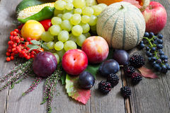 Autumn fruits and vegetables on wooden boards retro still life Stock Photography