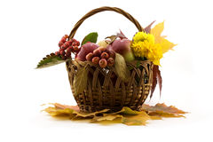 Autumn fruits with yellow leaves in a basket Royalty Free Stock Images