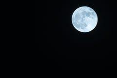 Autumn Full Moon Against een Duidelijke Zwarte Nachthemel Royalty-vrije Stock Fotografie