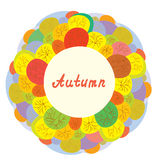Autumn funny frame with trees. And leaves vector illustration