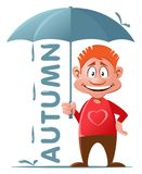 Autumn. Funny red guy with umbrella. Cartoon styled vector illustration. Isolated on white. No transparent objects Royalty Free Stock Photo