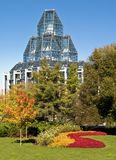 Autumn Gallery. The National Gallery of Canada in Ottawa stands proud surrounded by flowers and autumn colors Royalty Free Stock Photos