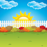 Autumn garden. With bushes and fence.Vector Stock Images