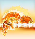 Autumn garden. With tree, landscape with light railing stock illustration
