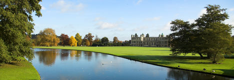 Autumn Garden. Landscape with River and Stately home Stock Image