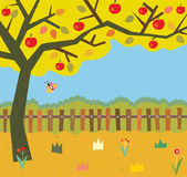 Autumn garden background with apple tree. Graphic illustration Royalty Free Illustration