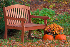 Autumn Garden Bench Foto de archivo