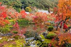 Autumn garden at Eikando temple, Kyoto. Autumn foliage garden and pond at Eikando temple, Kyoto, Kansai, Japan. Tourist travel destination landmarks in fall Royalty Free Stock Photo