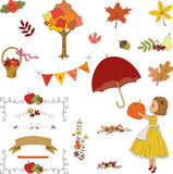Autumn garden hand drawn clip-art. Stock Image