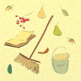 Autumn garden set. Pears, leaves, book, ashberry and bucket  illustration.. Autumn garden set. Pears, leaves, book, ashberry and bucket sketch illustration Royalty Free Stock Images