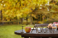 Autumn Garden Table. Wooden table top with shallow focus and I love Autumn text in golden autumn garden with fruit on the table Stock Images