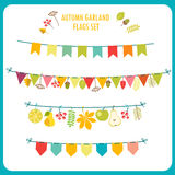 Autumn Garland And Flags Set Clipart (images graphiques) de fête Photo libre de droits