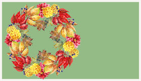 Autumn garland on a green background, watercolor,pattern Royalty Free Stock Photos