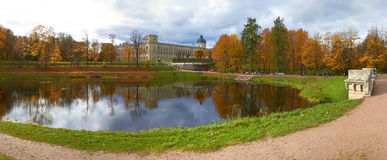 Autumn Gatchina Palace and pond. St.Petersburg Stock Image