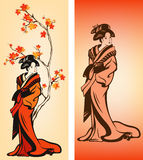 Autumn Geisha vector. Autumn season japanese geisha colorful decorative elements Stock Photography