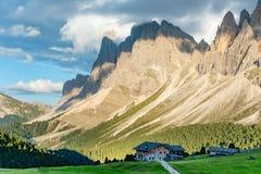 Autumn Geisler or Odle mountain Dolomites Group, Val di Funes stock photography