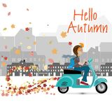 Autumn geometric adversting. autumn trre and leaves. vector illustration. EPS 10. Autumn sale poster stock illustration