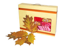 Autumn gift. Gift box with bed-clothers and autumn leaves Stock Photography